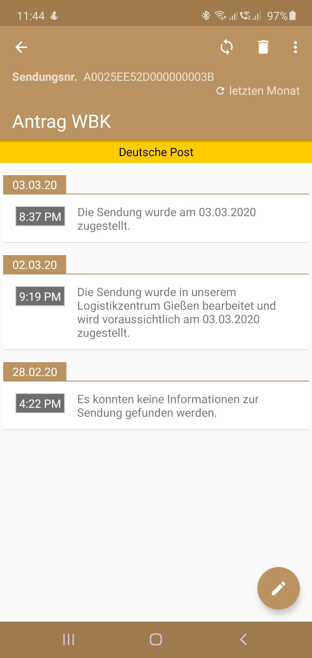 Dienstleister: Deutsche Post Sendungsnummer: A0025EE52D000000003B  Sendungsverlauf: --------------- 3. März 2020, 8:37 PM: Die Sendung wurde am 03.03.2020 zugestellt. 2. März 2020, 9:19 PM: Die Sendung wurde in unserem Logistikzentrum Gießen bearbeitet und wird voraussichtlich am 03.03.2020 zugestellt. 28. Februar 2020, 4:22 PM: Es konnten keine Informationen zur Sendung gefunden werden.